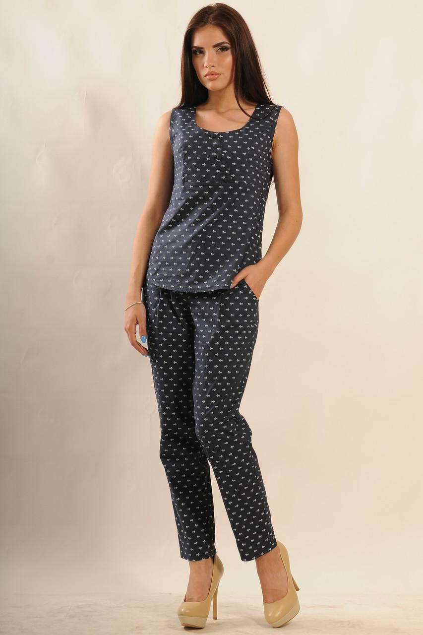 Прямые летние брюки коттоновые классического кроя: зауженные к низу 42-52 размер, фото 1