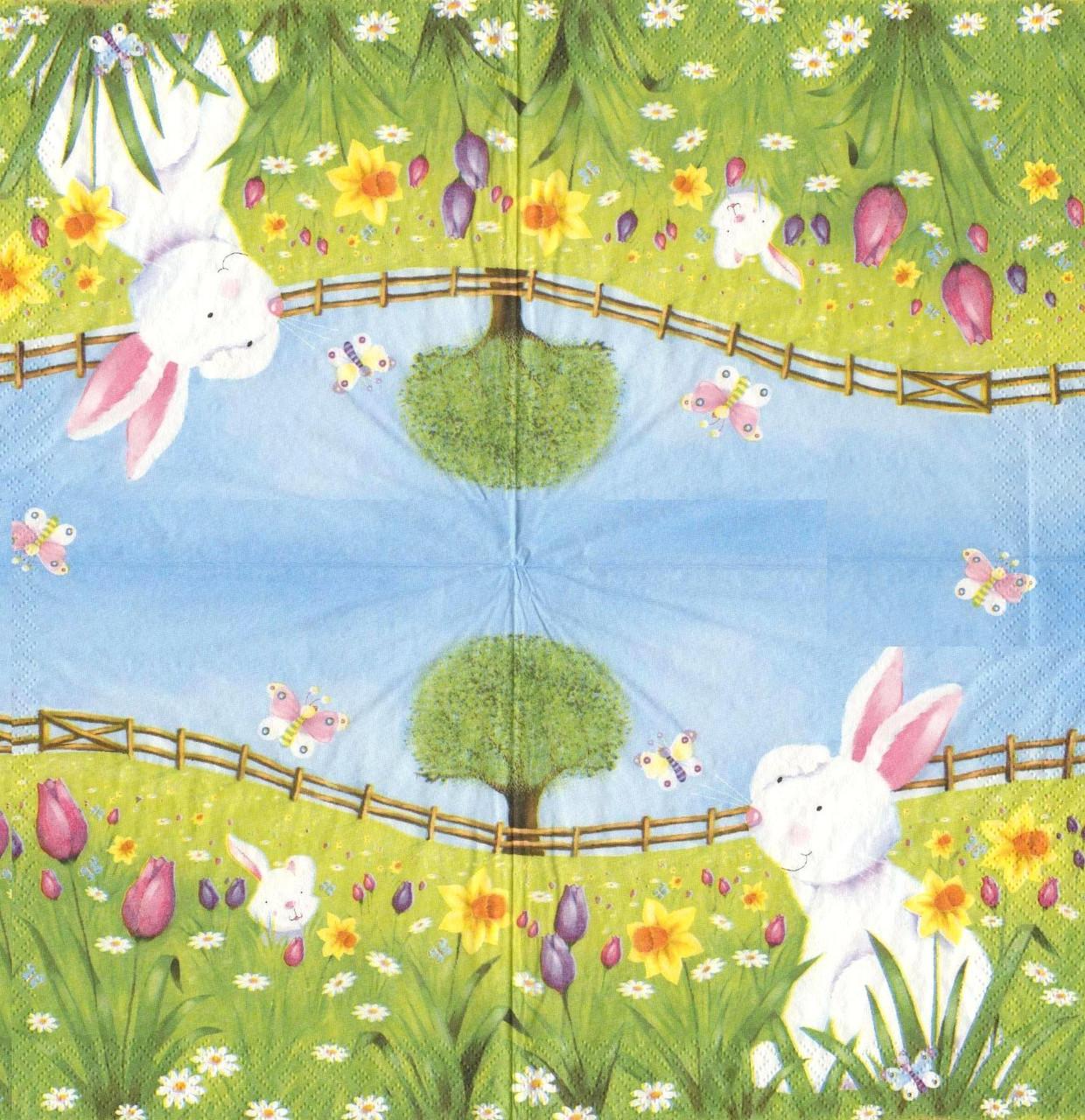 Салфетка для декупажа Белый кролик 5948