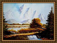 Картина в багетной раме Мостик в Альпах 200х240 мм №339