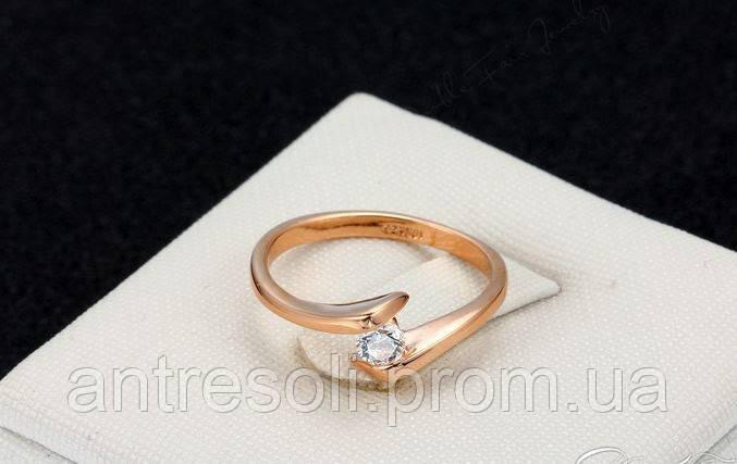 Кольцо покрытие золото с цирконием р 16,19 код 970
