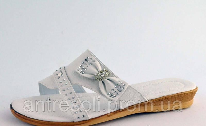 Шлепанцы женские белые бантик Б594 р 39