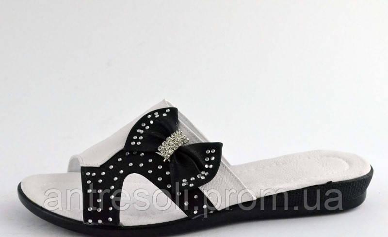 Шлепанцы женские белые с черным бантик Б597 р 38,40
