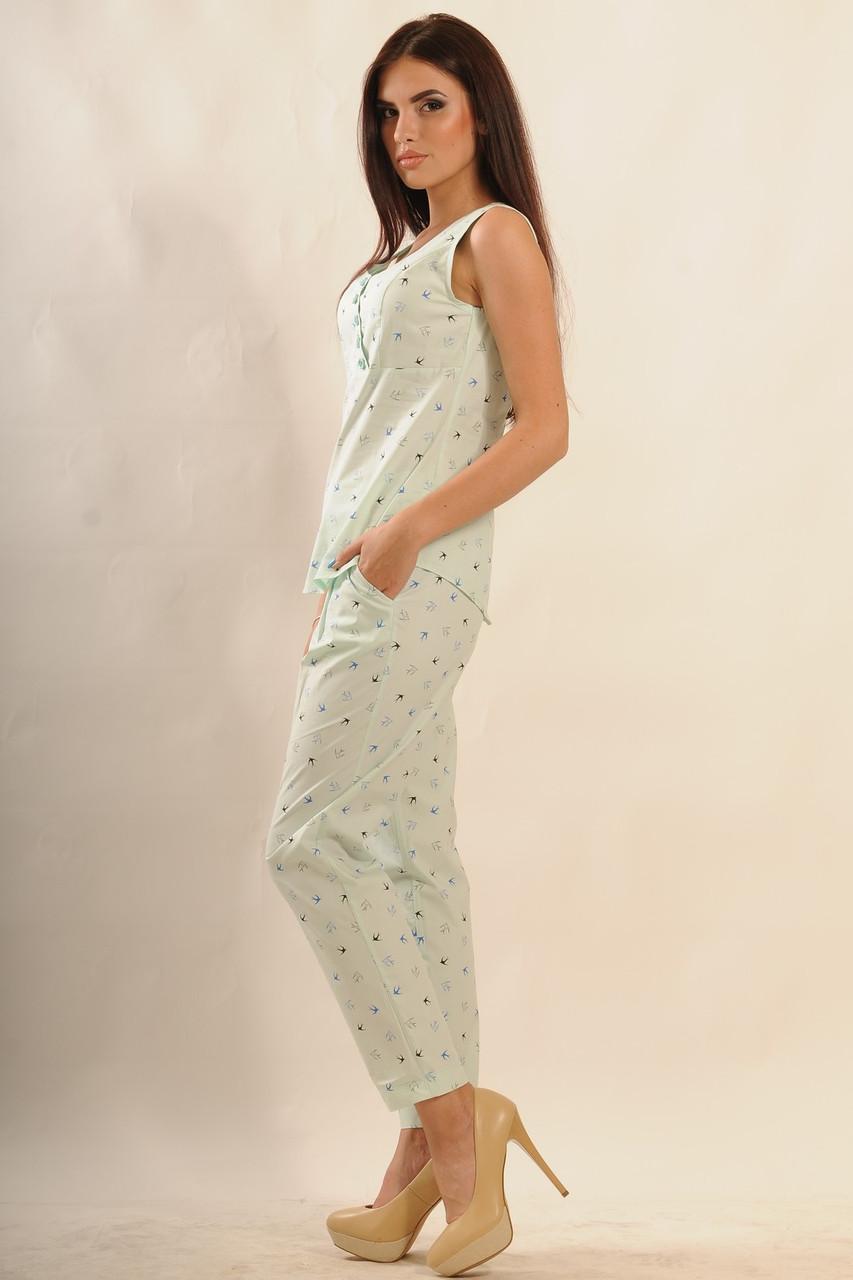 Легкий летний коттоновый костюм в пижамном стиле 42-52 размер, фото 1