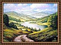 Репродукция картины Дорога к озеру 200х240 мм