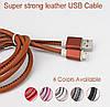 Кабель кожанный micro USB - 1m