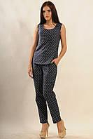 Легкий летний коттоновый костюм в пижамном стиле 42-52 размер