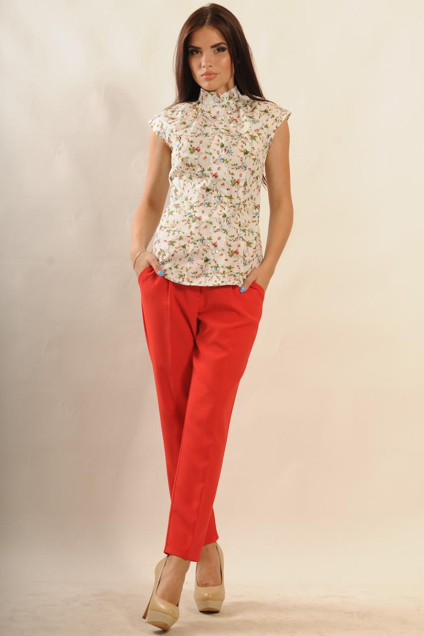 """Стильная летняя рубашка с воротником-стойка 42-50 размера - TM """"Ola-La"""" - качественная одежда от производителя в Виннице"""