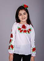 Детская вышиванка с красными маками