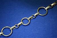 Масивний срібний браслет Кільця 20 см Бр літ 1, фото 1