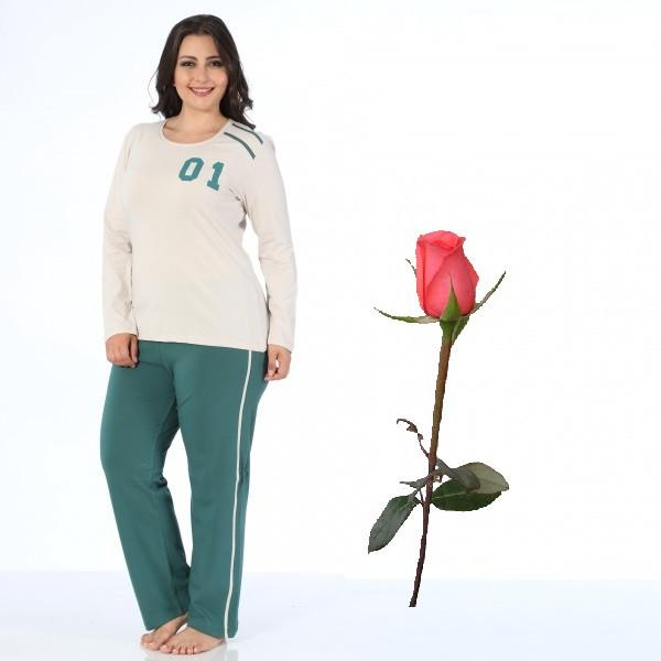Пижама женская с футболкой и штанами Большой размер Т 29192