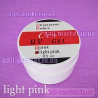 Гель УФ для наращивания ногтей CCN прозрачно-розовый (light-pink) 15 мл