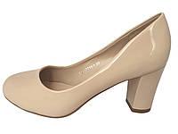 Туфли бежевые ,на не высоком каблуке