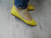 Женские  лаковые балетки нежно желтые 37 38 39 40