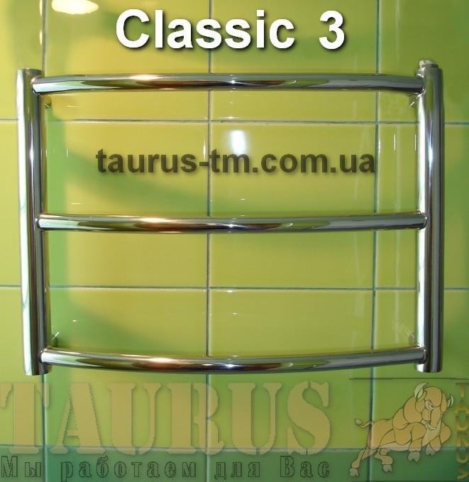 Карликовый полотенцесушитель Classic 3/ 400х500 мм из нержавейки с гнутой круглой трубы. Электро. Украина