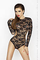 Кружевное боди с длинным рукавом Passion Erotic Line YOLANDA BODY, черный, S\M, фото 1