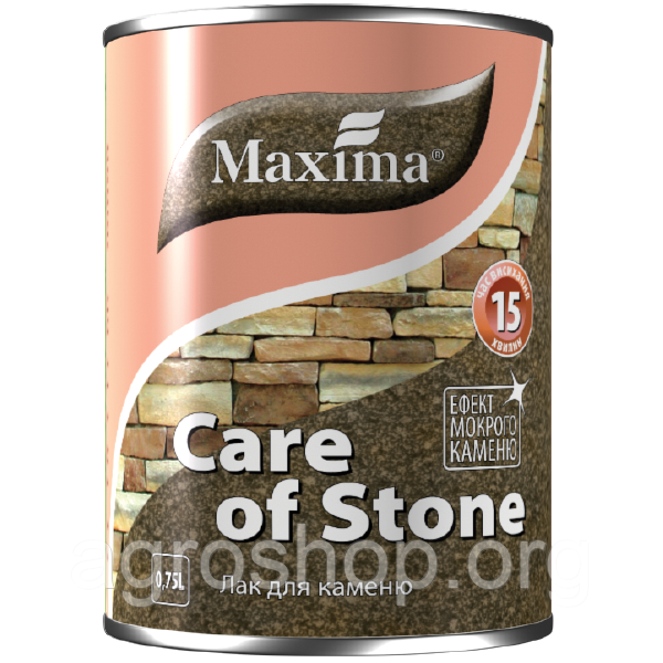 """Лак для камня быстросохнущий """"Care of stone"""" ТМ """"Maxima""""0,75л."""