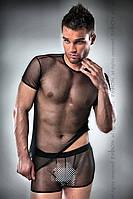 Черный прозрачный комплект Passion 017 SET, L\XL, фото 1