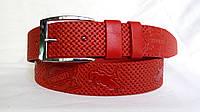 Кожаный ремень 40 мм красный Sheriff пряжка классическая хромированная
