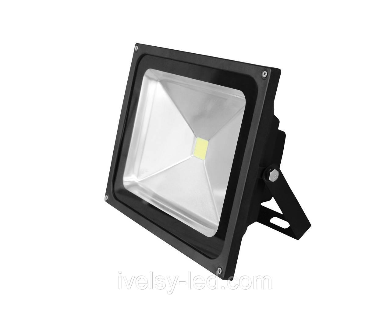 Прожектор LED EUROELECTRIC COB чорний 50W 6500K classic