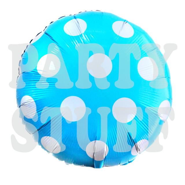 круглый голубой шар из фольги полька