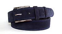 Замшевый ремень 45 мм тёмно-синий с прошитый двойной синей ниткой пряжка с кожаной вставкой