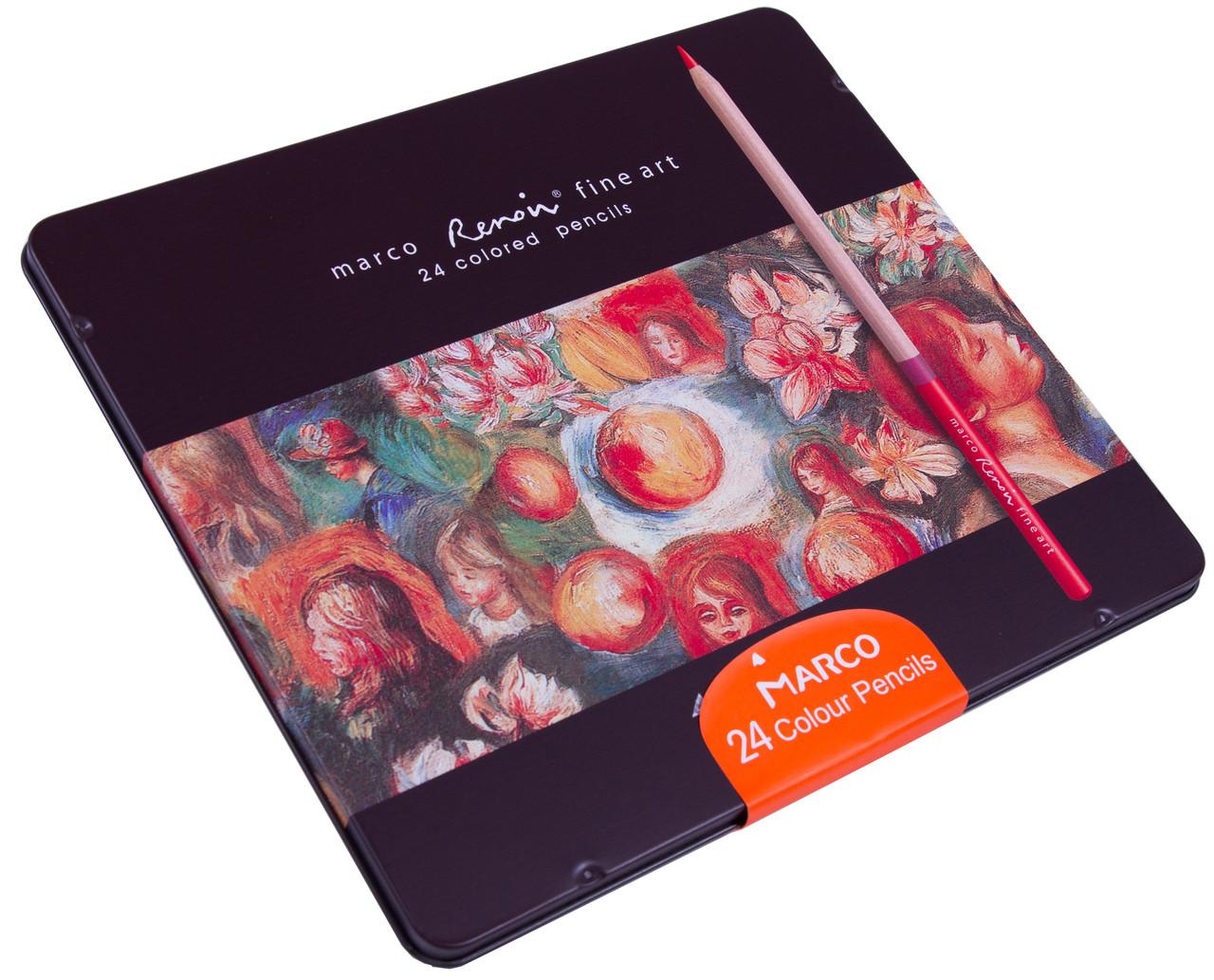 Карандаши цветные в металлическом пенале Marco Renoir (24 цветов)