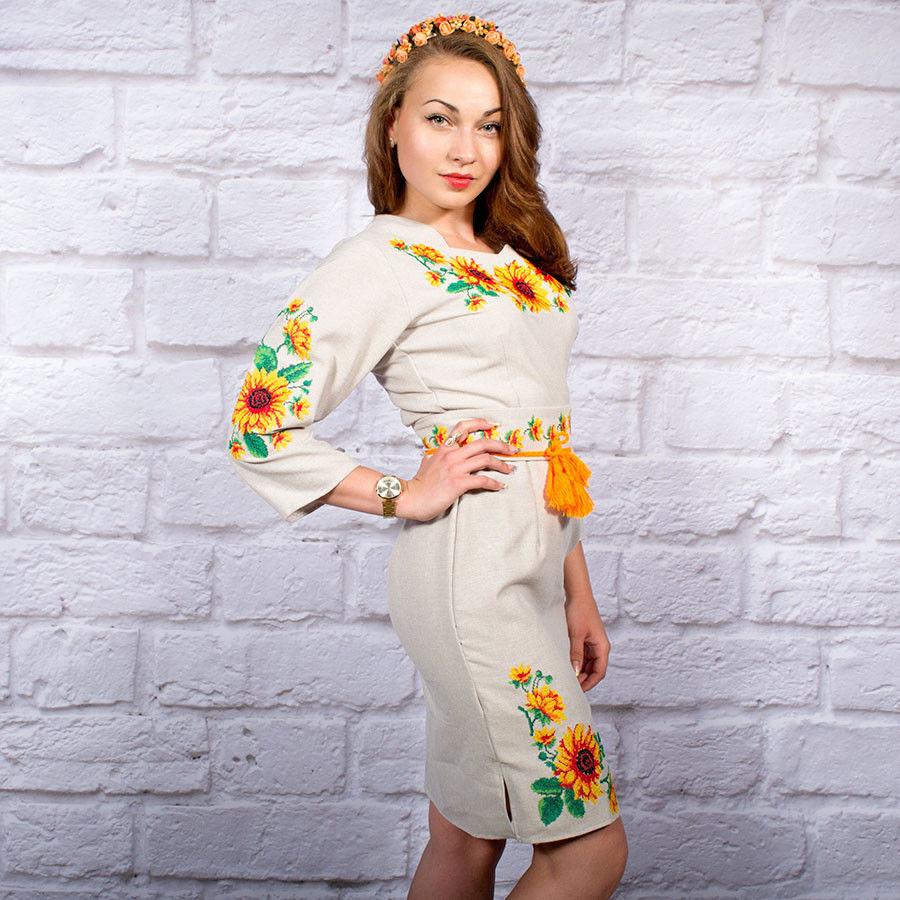 Вышитое платье в украинском стиле Солнечное