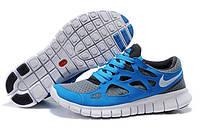 Мужские беговые кроссовки Nike Free Run Plus 2 (найк фри ран) синие