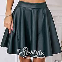 Кожаная юбка №046 зеленая