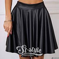 Кожаная юбка №046 черная