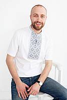 Вышитая футболка мужская. Орнамент серебро