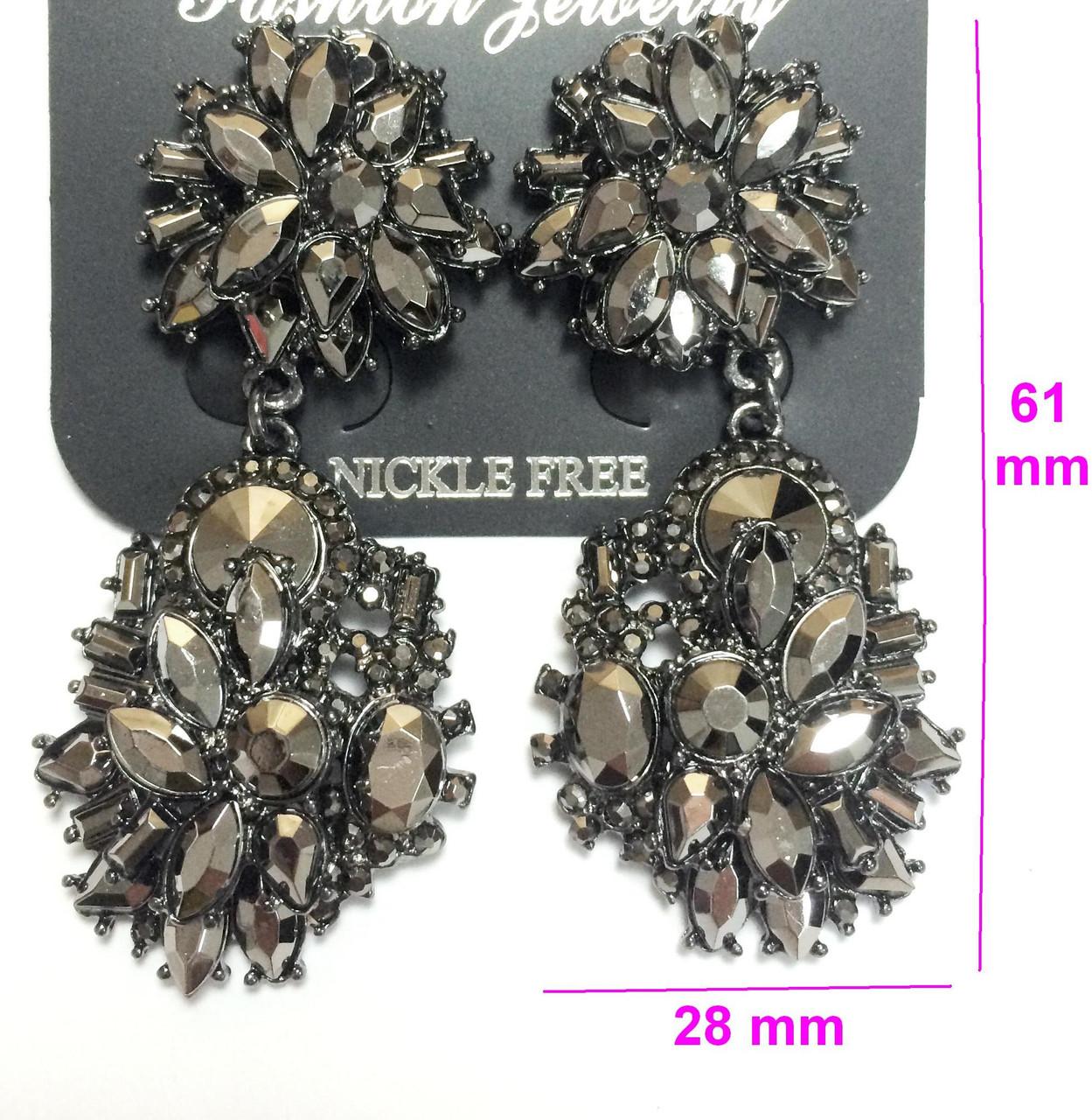 Серьги висюльки Массивные, черные кристаллы