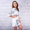 Вышитое платье в украинском стиле Полевые цветы белого цвета , фото 4