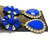Серьги Цветок, ярко-синие камни, фото 2