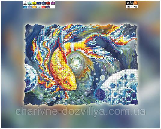 """Схема вышивки для начинающих на подрамнике (холст) """"Золотая рыбка"""", фото 2"""