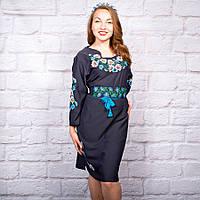 Вышитое платье в украинском стиле Полевые цветы синего цвета 5c99904bec7b0