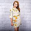 Вышитое украинское платье лен Подсолнухи, фото 4