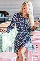 Принтованное женское платье рубашка с расклешенной юбкой и накладными карманами рукав длинный джинс стрейч