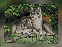 """Схема для вышивки бисером на подрамнике (холст) """"Пара волков. Нежность."""""""