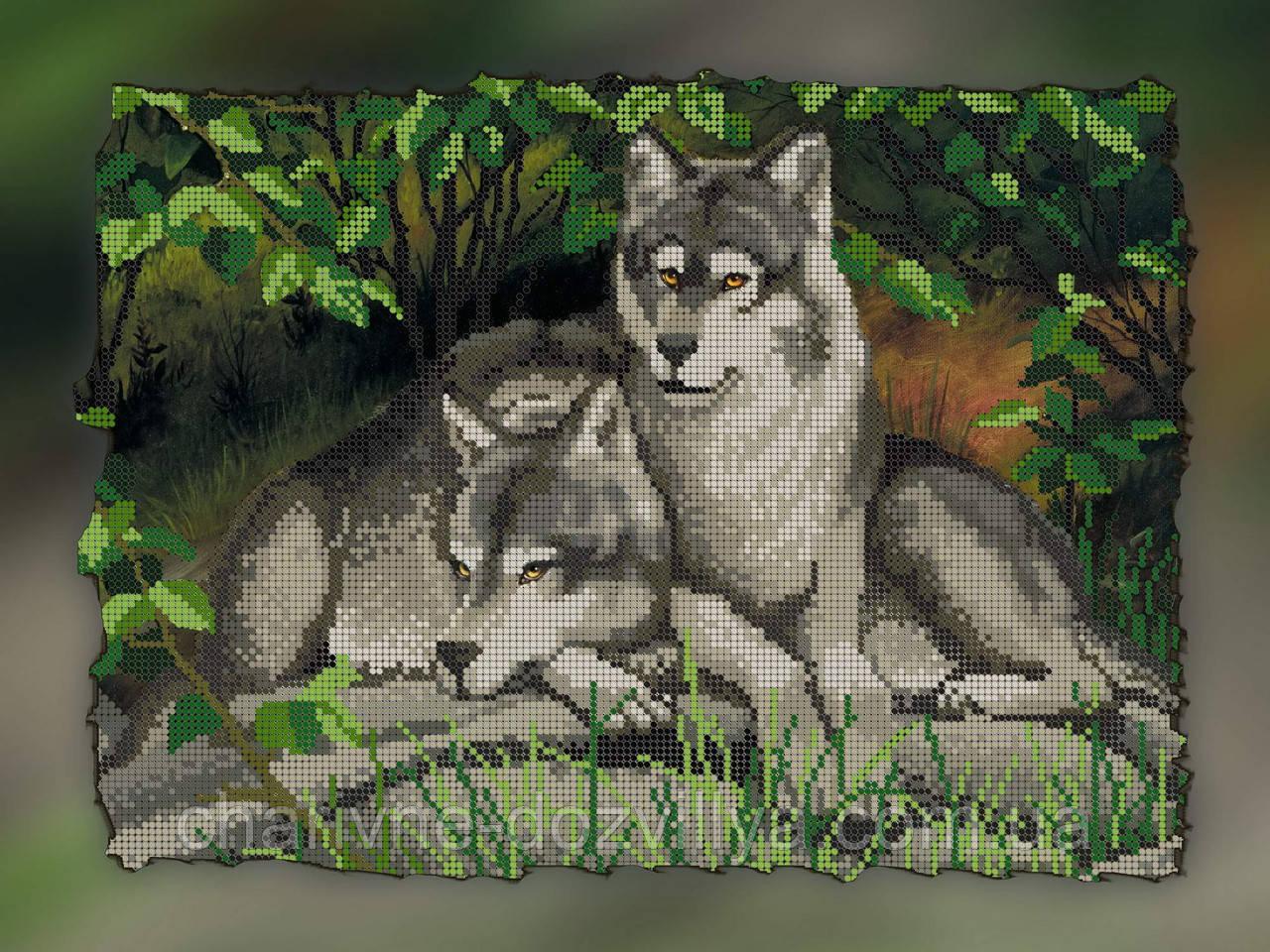 Пара волков вышивка бисером