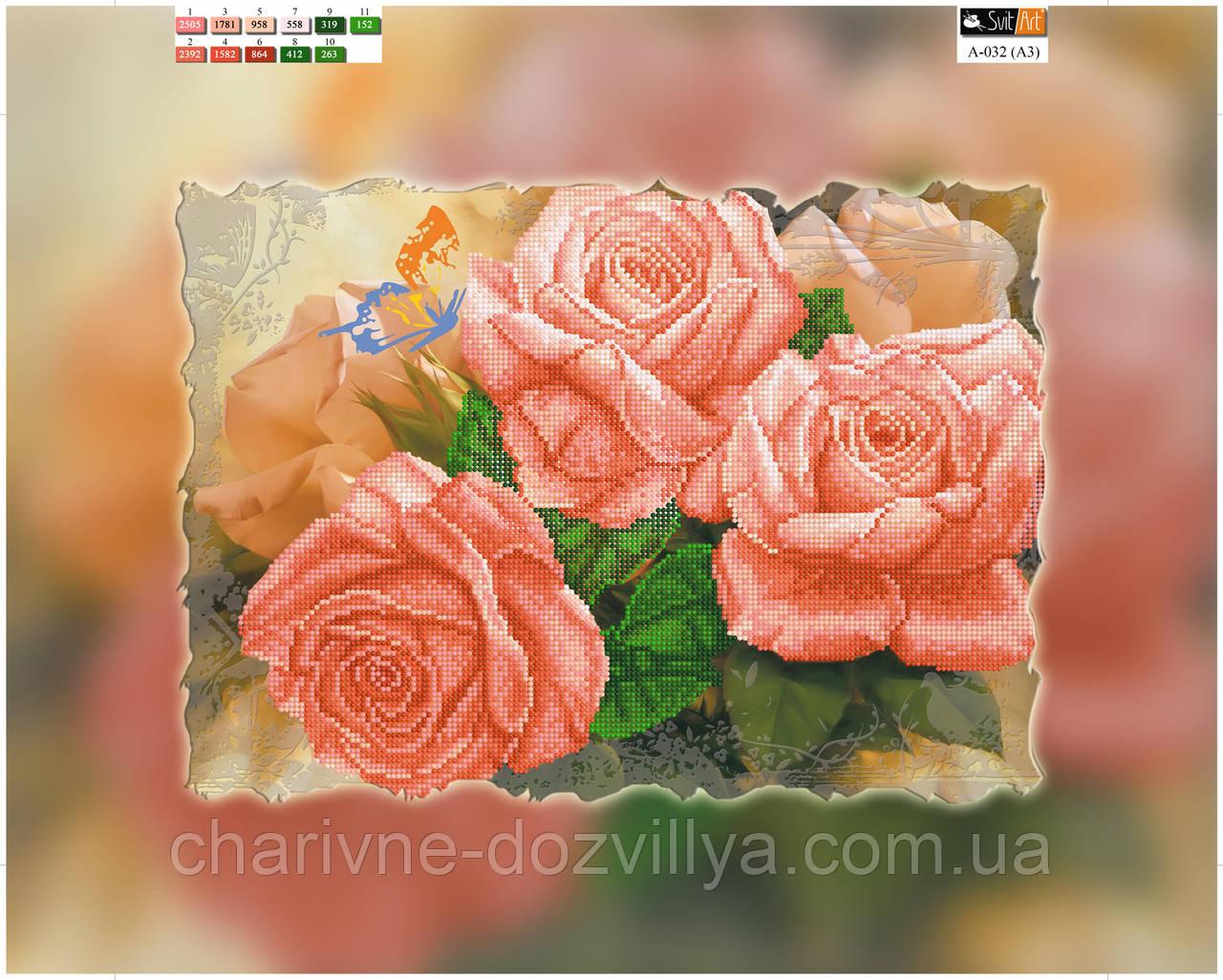 """Схема вышивки для начинающих на подрамнике (холст) """"Коралловые розы"""""""