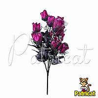 Букет Лиловых роз (Лиловые розы) из ткани с фатином Высота 46 см
