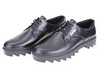 Женские закрытые кожаные туфли на рифленой  платформе