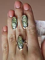 Серебряный комплект с золотыми пластинами и камнями