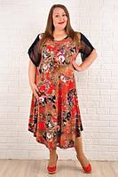 Нарядное платье батал Мадонна  красный (60-66)