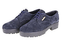 Женские закрытые замшевые туфли на рифленой  платформе