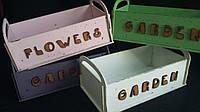 Салатовый ящик из фанеры для цветов, 27,5х15х9 см., 145/115 (цена за 1 шт. + 30 гр.)