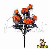 Букет Оранжевых роз (Оранжевые розы) из ткани с фатином Высота 46 см