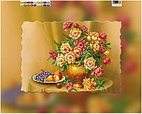 """Схема для вышивки бисером на подрамнике (холст) """"Натюрморт с розами"""""""
