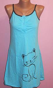 Ночная рубашка на тонких бретелях Кошка, р. 44-52